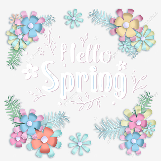 hello spring paper cut flower text