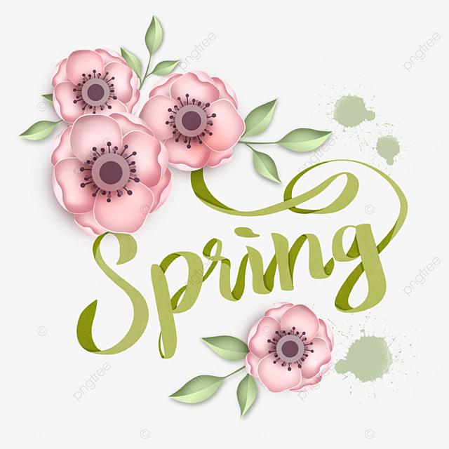 hello spring pink creative flower text