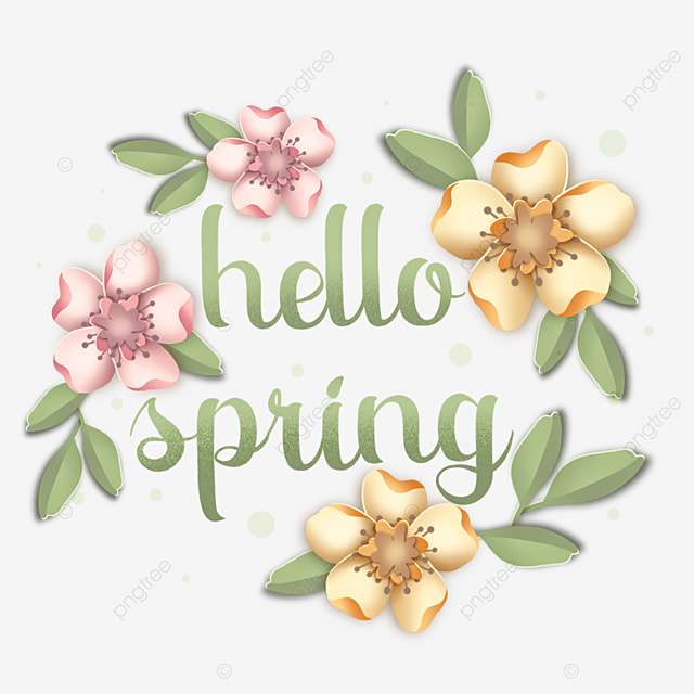 hello spring pink floral text
