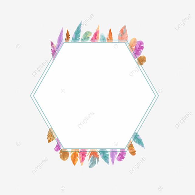hexagon colorful feather border