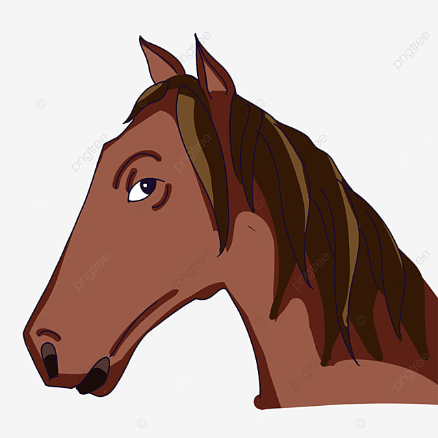 horse head with ears up clipart