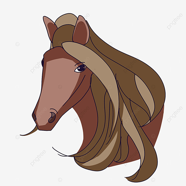 horse head with long mane clip art