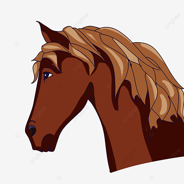 horse head with yellow mane clipart