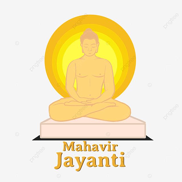 indian mahavir jayanti golden gradation halo character illustration