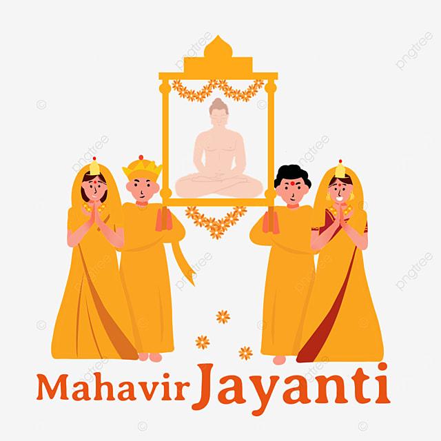 indian mahavir jayanti parade orange illustration