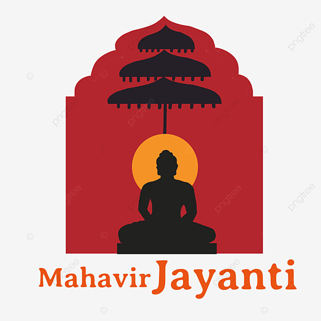 indian mahavir jayanti red background character illustration