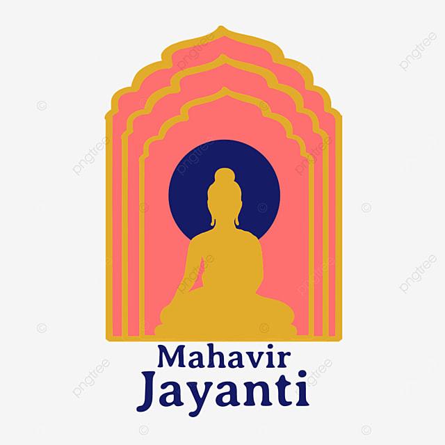indian mahavir jayanti red background golden figure silhouette
