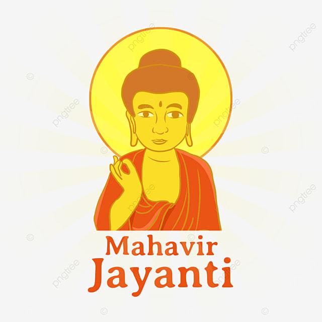 indian mahavir jayanti yellow halo illustration character