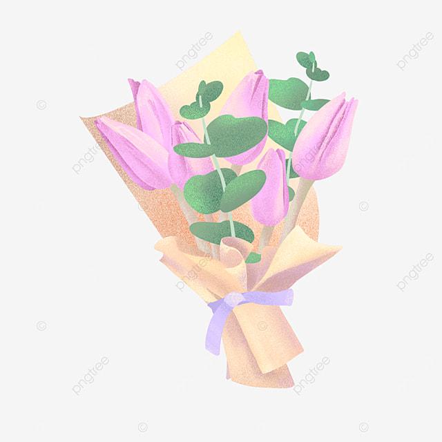 kraft paper eucalyptus leaf pink purple bouquet clipart
