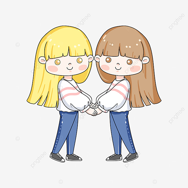 long haired twins clip art
