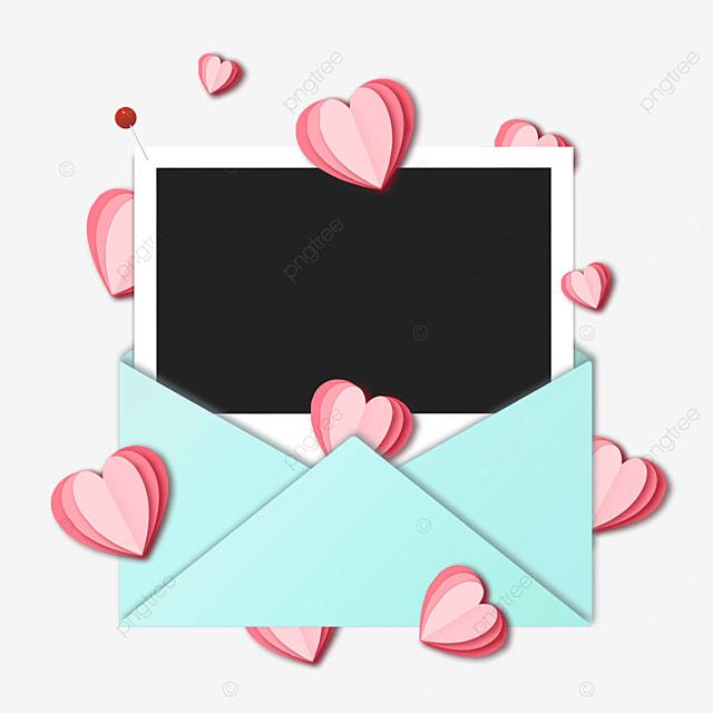 love blue envelope photo paper border