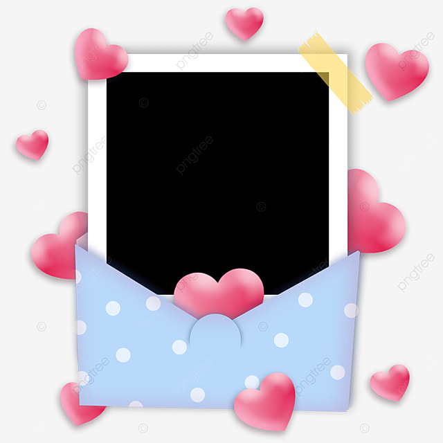 love envelope photo paper border blue