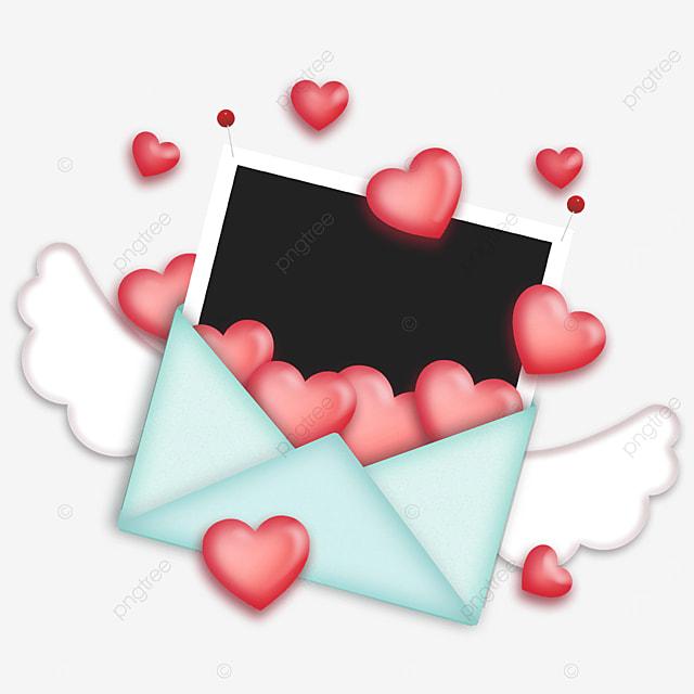 love envelope photo paper border blue wings