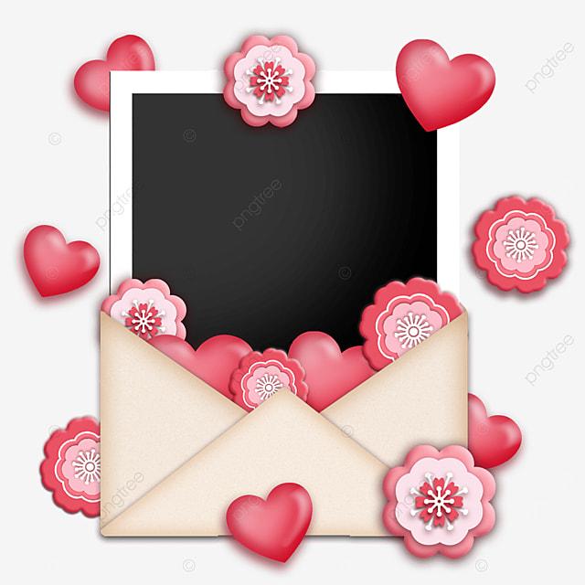 love envelope photo paper border flower