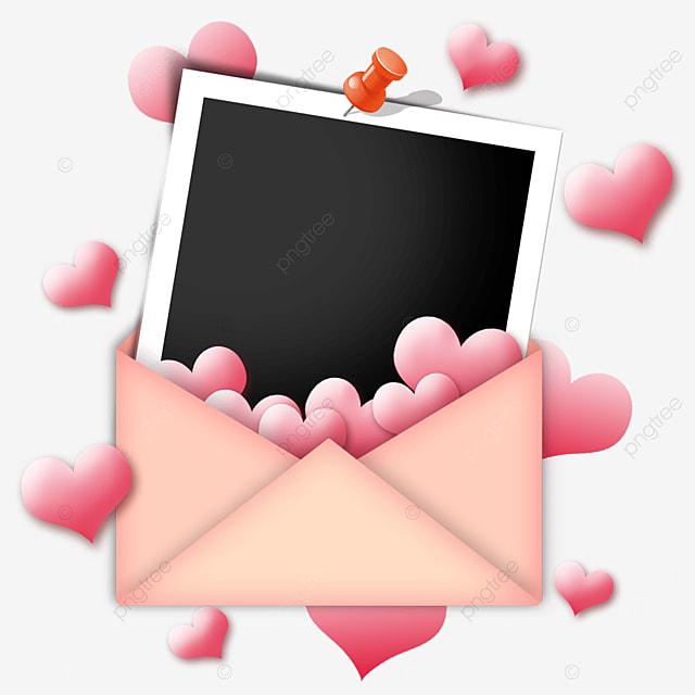 love envelope photo paper border pink