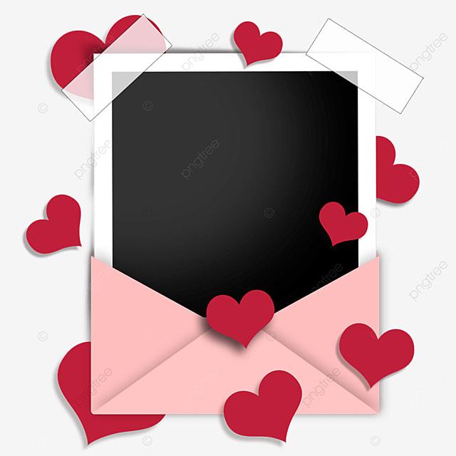 love envelope photo paper border red romantic