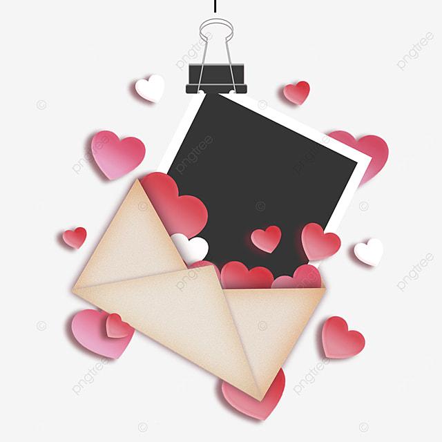 love envelope photo paper red border