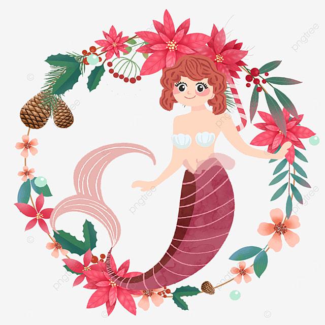 mermaid beautiful red wreath