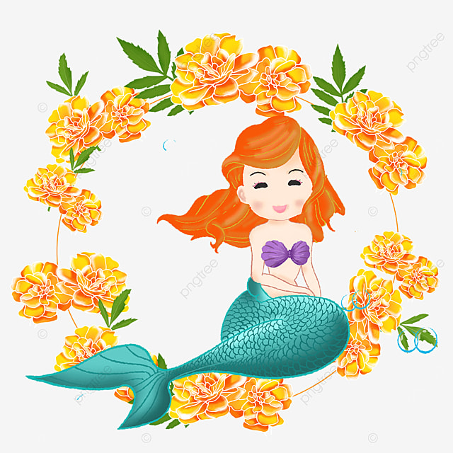 mermaid cartoon yellow rose wreath