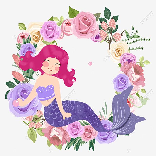 mermaid cute purple rose wreath