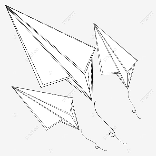 multiple flying line paper airplanes clipart