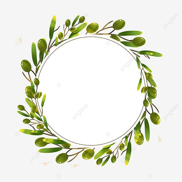 olive circular creative branches border