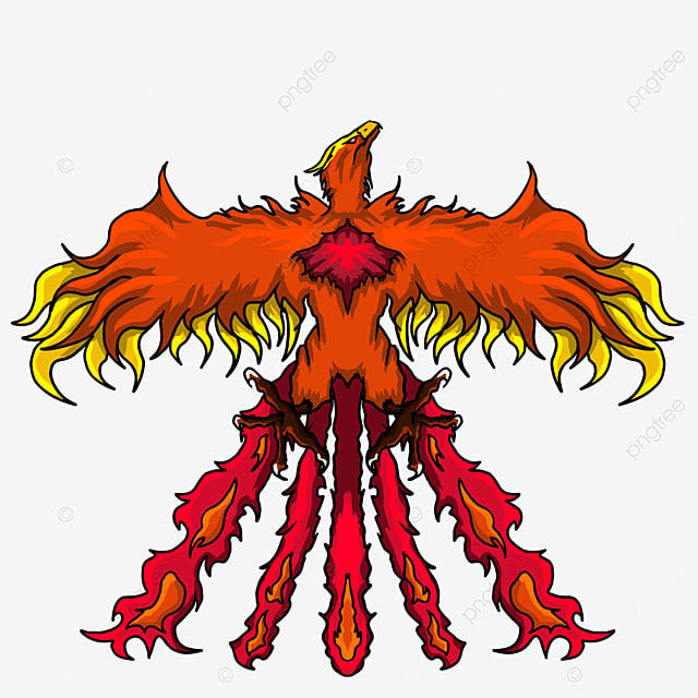 orange red flying phoenix with wings spread clipart