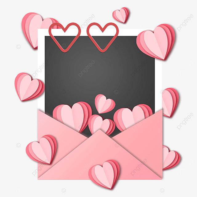 origami love envelope photo paper border