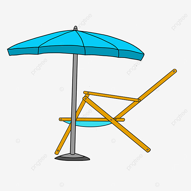 outdoor beach chair by the sea clipart