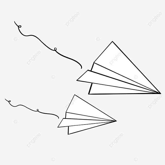 paper airplane flying down clipart