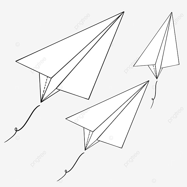 paper planes flying side by side clipart