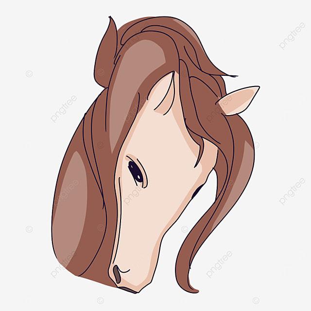 pensive horse head looking down clip art