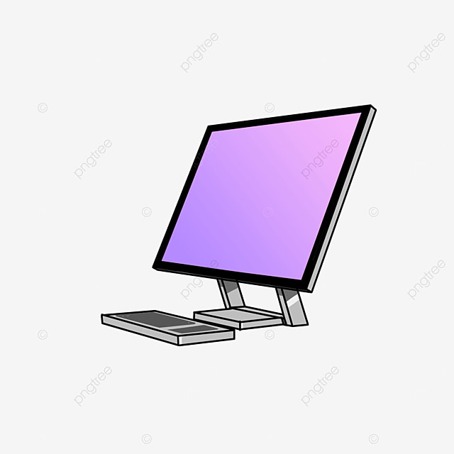 personal computer with purple screen side clip art