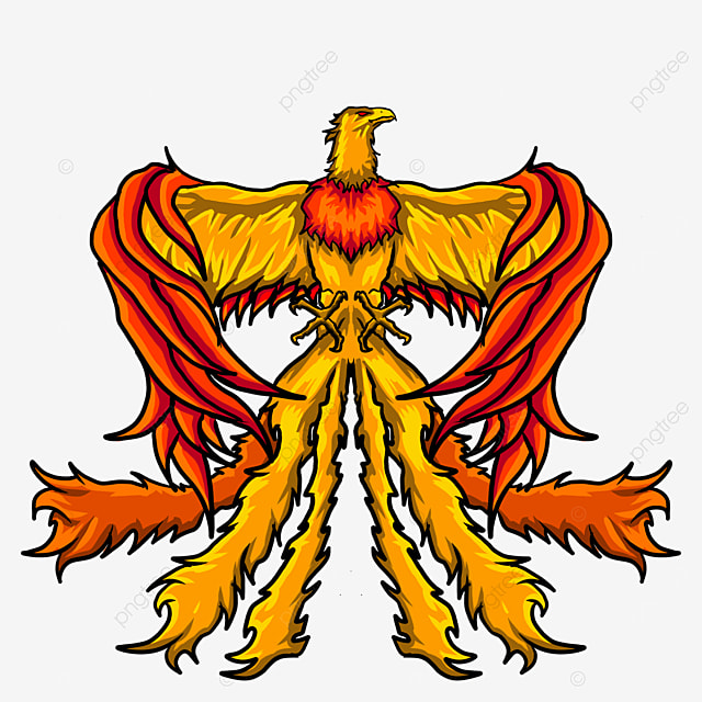 phoenix with spread wings orange feathers clipart