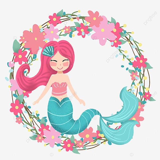 pink cartoon mermaid wreath