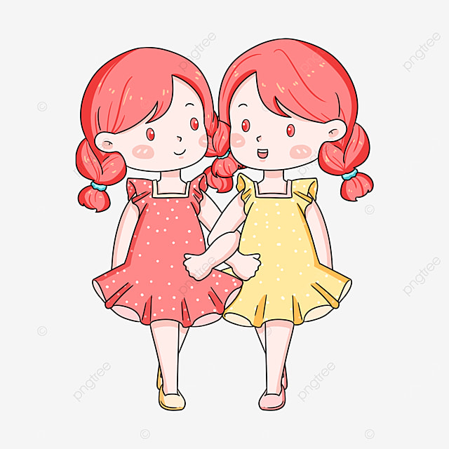 pink girl twins clipart