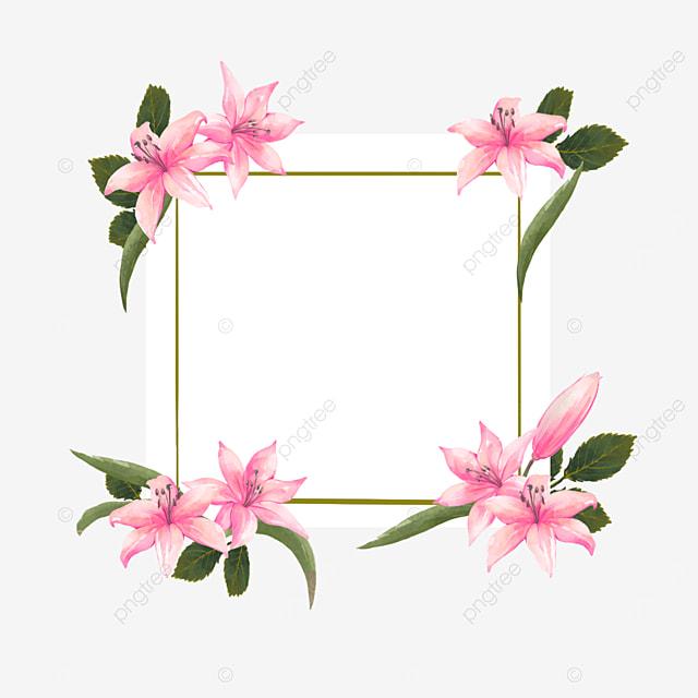 pink lilies border bride invitation card wedding
