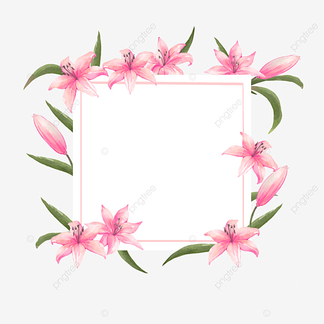 pink lilies wedding border invitation card