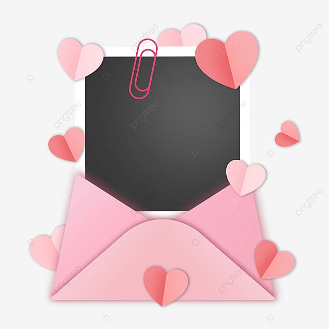 pink love envelope border photo paper