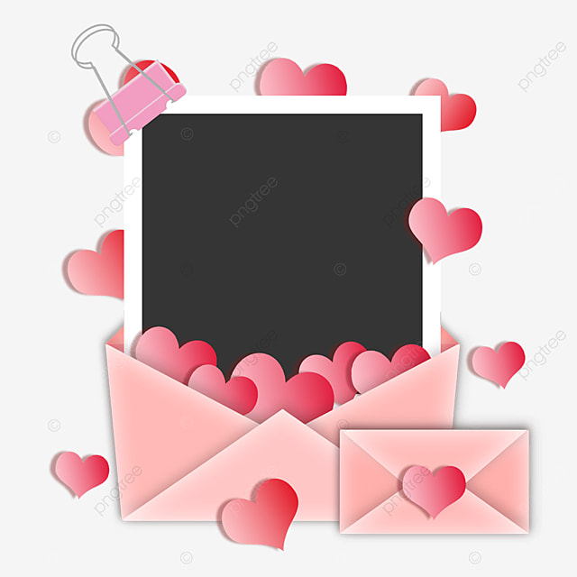 pink love envelope photo paper border