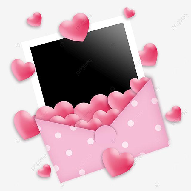 pink love envelope photo paper border romantic