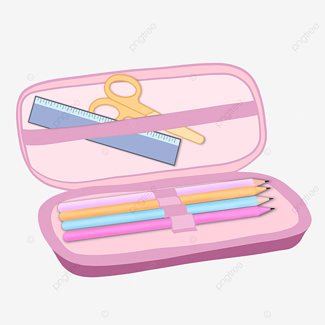 pink pencil case clipart