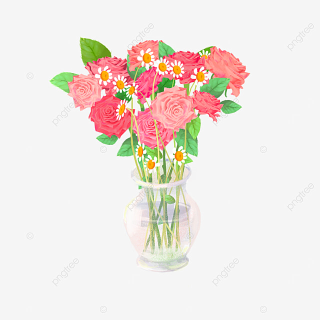 pink rose small daisy bouquet clipart