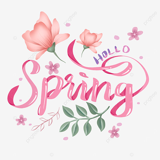 pink spring hello floral text