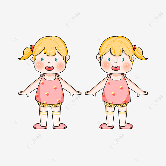 pink twins clipart