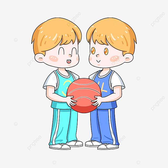 playing basketball twins clip art