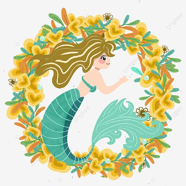 pretty mermaid with yellow wreath