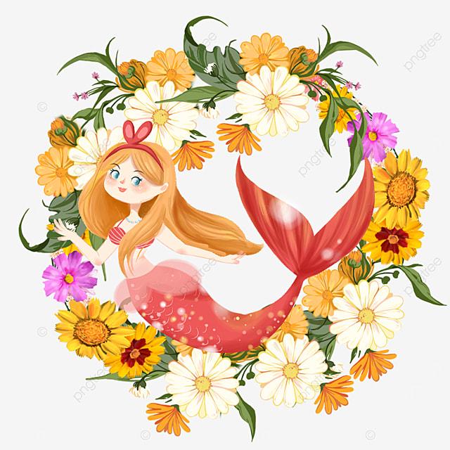 pretty orange mermaid wreath