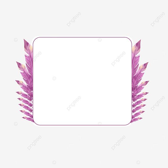 purple watercolor feather border