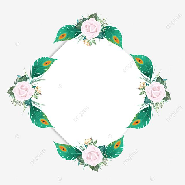 quadrilateral green feather decorative border